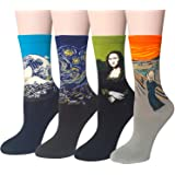 Chalier 4-6 Pairs Womens Fun Socks Famous Painting Patterned Art Socks & Printed Cool Novelty Funny Socks for Women