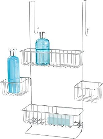 InterDesign Metalo Estantería de baño para colgar, estante de ducha con 4 cestas de metal, repisa de baño, plateado: Amazon.es: Hogar