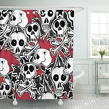 Waterproof Shower Curtain Curtains Colorful Crazy Punk Rock Abstract Skulls Pins Guitars Symbols Disk Stars Lips