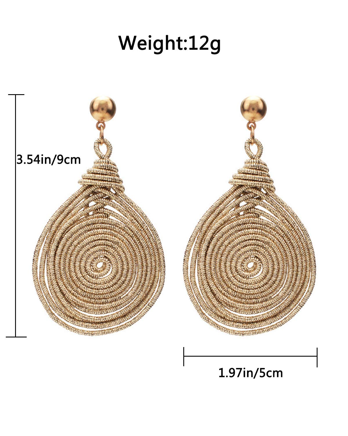 Vintage Statement Earrings Geometric Metal Multi Layer Hoop Long Dlange Earrings for Women Wedding Party