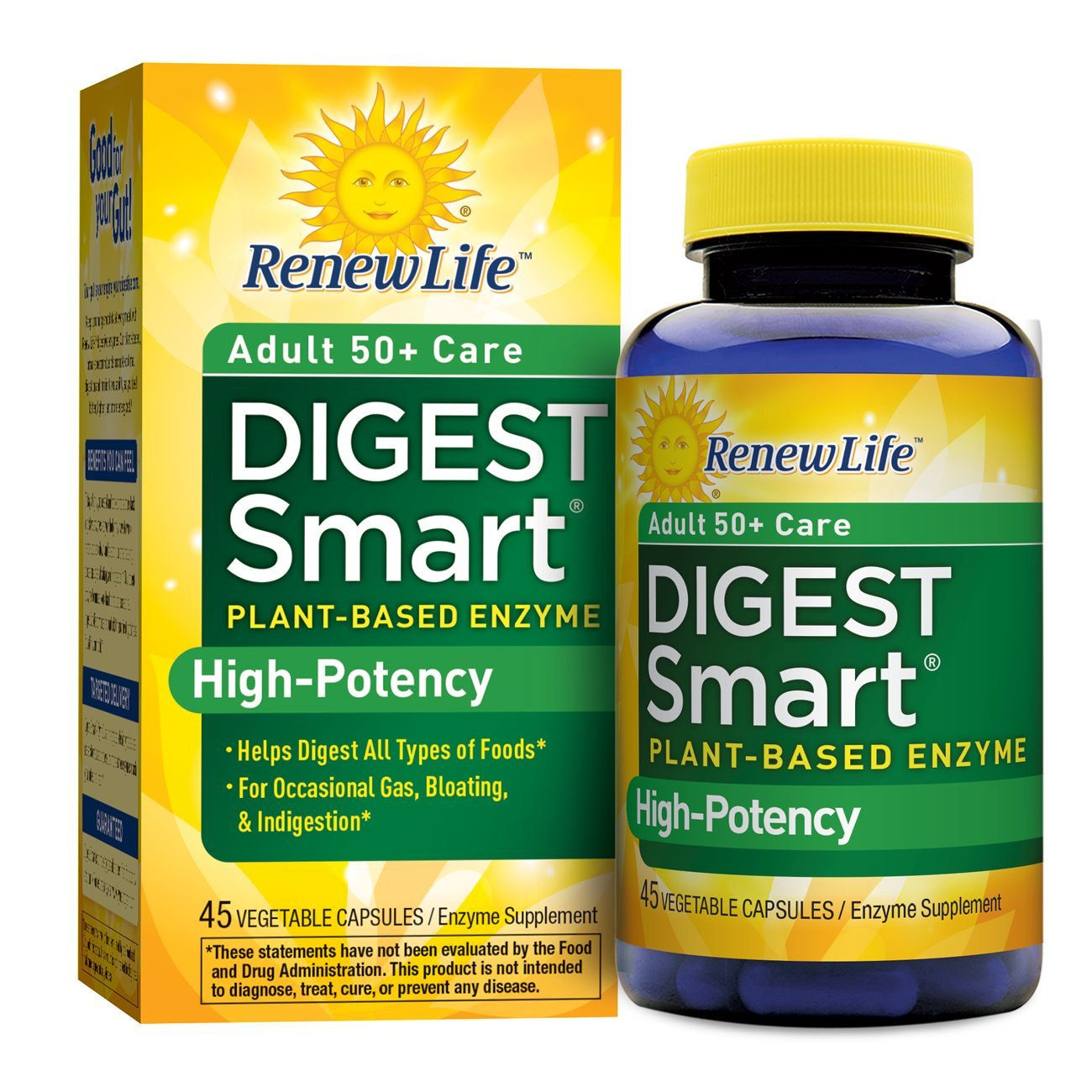 Renew Life - Digest Smart Adult 50+ Care - gas, bloating, and digestive relief - plant-based enzyme supplement - 45 vegetable capsules