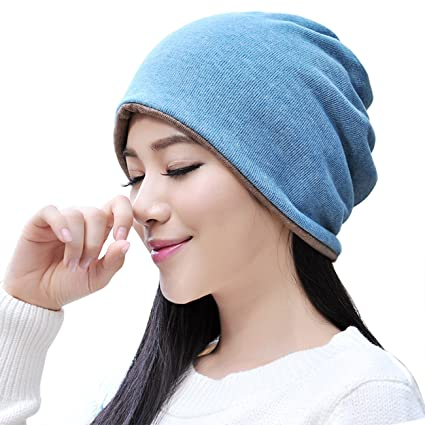 Multifunctional Scarf Brown Knit Hat for Adults Ponytail Oversize Knitted  Cap Slouchy Blue Knitting Hat Cotton aa7637a5056