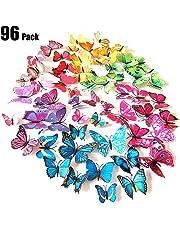 Tomkity 96 Pezzi 8 Colori Brillanti Farfalle 3D Adesivi per pareti Vari Colori Decorazione casa Stickers murali (12 Pezzi Verde, Blu, Viola, Rosso, Bianco, Rosso Rosa, Giallo, colorato)