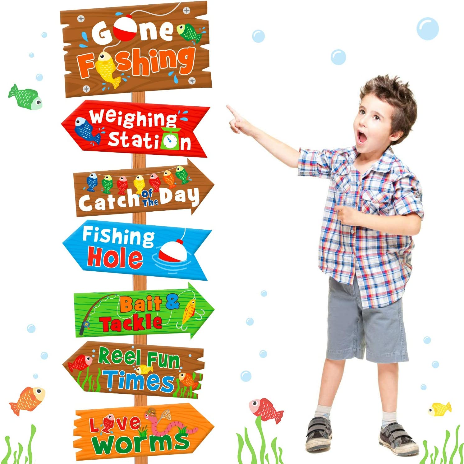 Huray Rayho Gone Fishing Party Directional Welcome Signs The Big One Backyard Door Cutouts Summer Birthday Party Favor Ideas Decoration Supplies