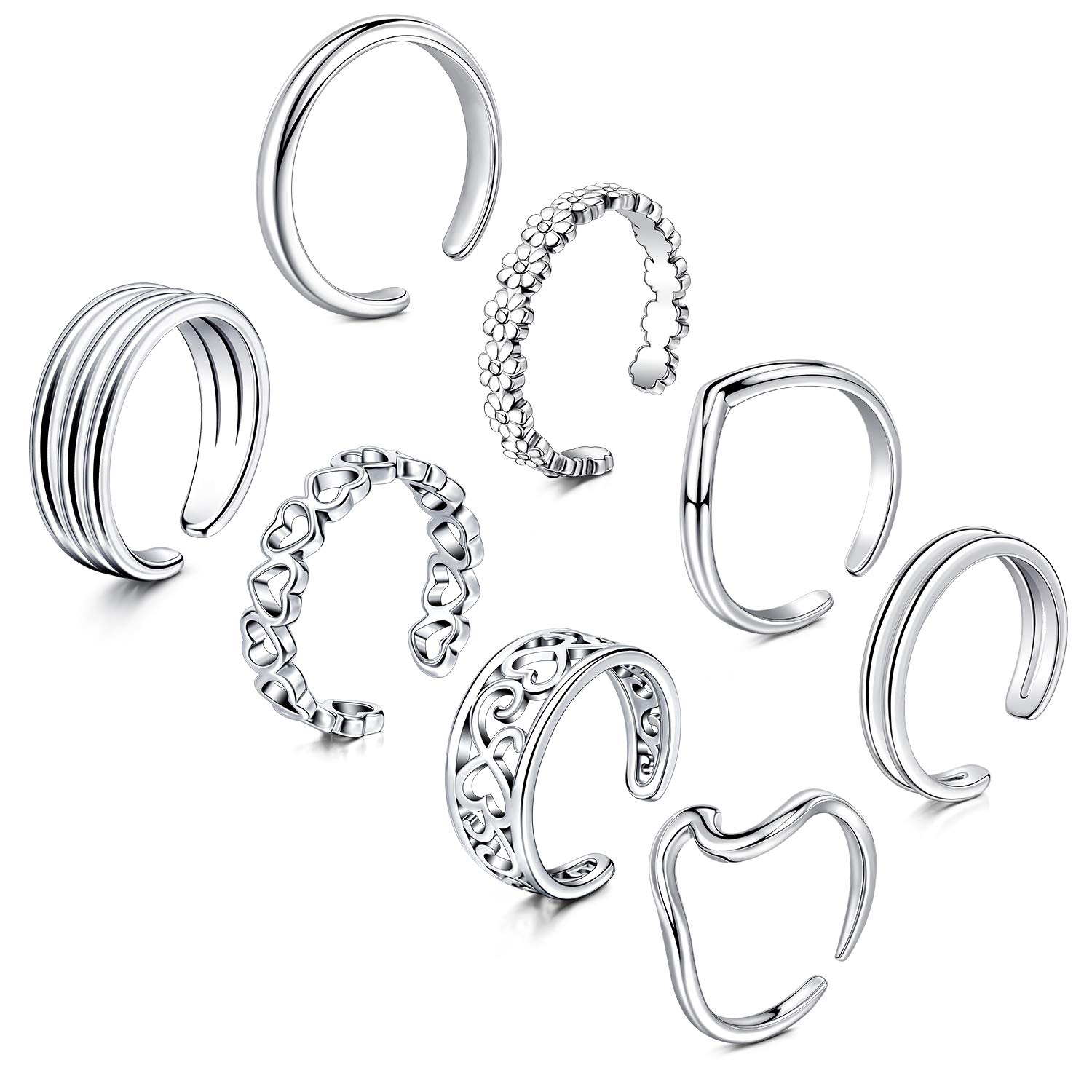Anicina Open Toe Ring for Women Girls Various Types Band Ring Set Foot Jewelry Cute Tail Ring Summer Beach Adjustable Toe Finger Rings