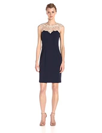 321927d76e Alex Evenings Women's Short Shift Dress with Embroidered Bodice and  Illusion Back, Navy Nude 4