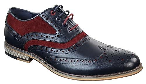 5def1a3de Chaussures homme style Richelieu Gatsby rétro cuir et daim véritable ...