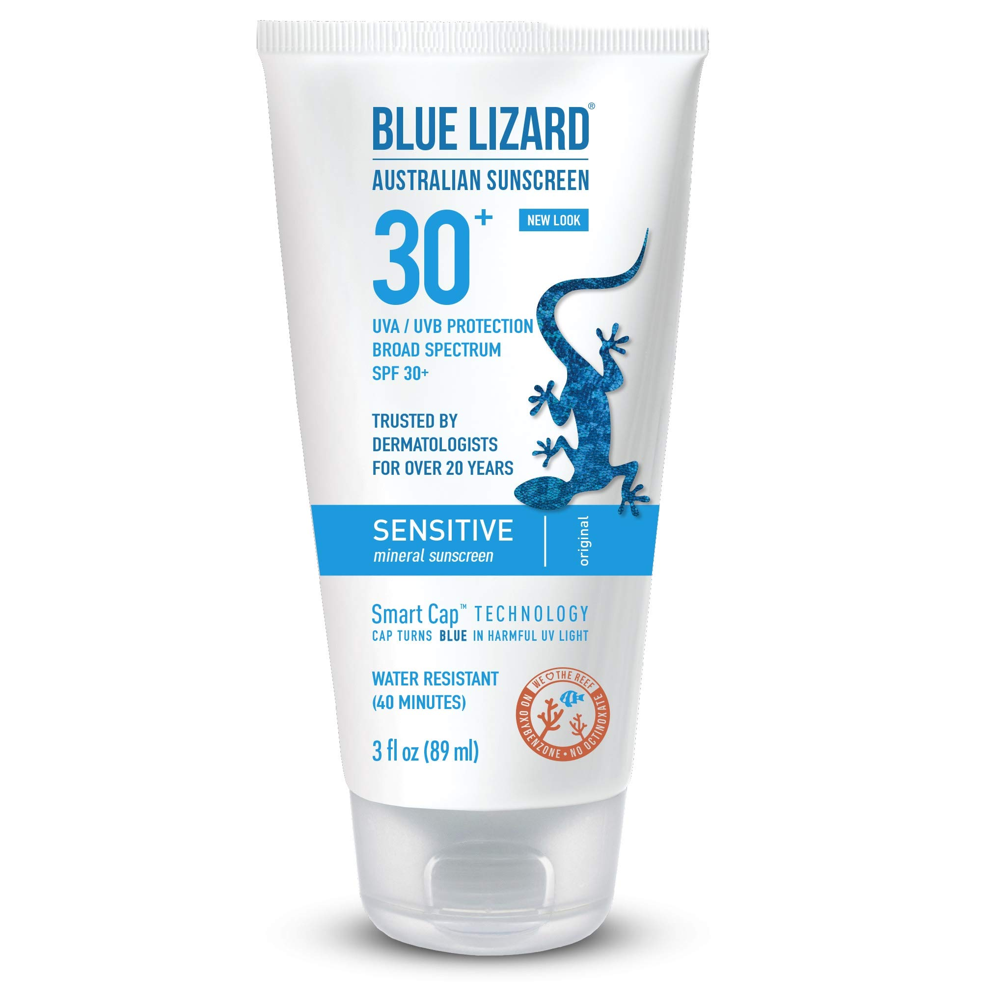 Blue Lizard Sensitive Mineral Sunscreen - No Chemical Actives - SPF 30+ UVA/UVB Protection, 3 oz by BLUE LIZARD