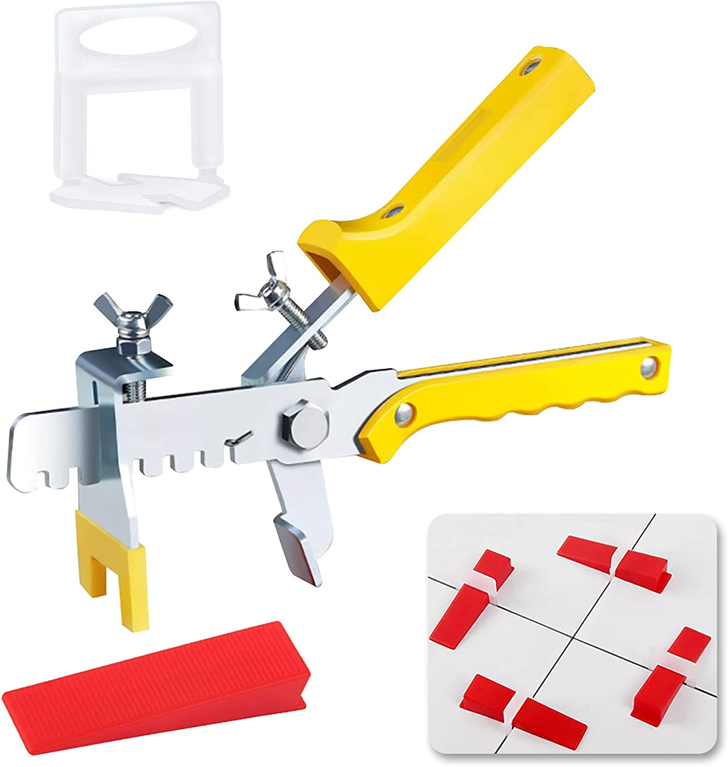 """Tile Leveling System, Premium 300 pcs 1/8"""" Tile Spacers Clips, 100 pcs Reusable Wedges and 1 pc Floor Tiles Pliers for Living Room Shower Floor/Wall Base Tile Leveler Tools for Installation - -"""