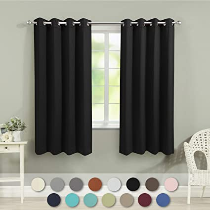 VEEYOO Bedroom Blackout Curtains 2 Panels - Thermal Insulated Room  Darkening Curtain with Tiebacks Thick Grommet Window Drapes for Living Room  (Black, ...