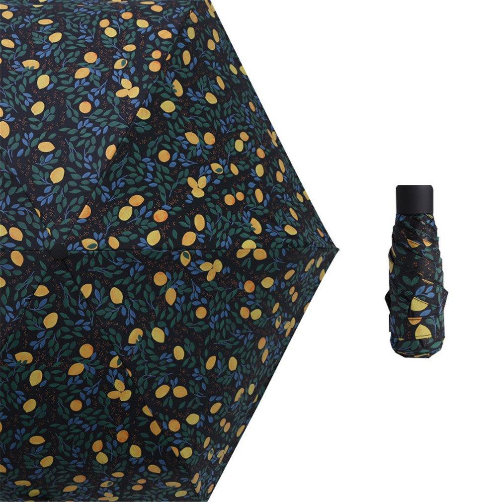 Guoke The Weather Was Fine Rain Umbrellas Use A Sunscreen Ultra Small Ultra Light Mini Light Folding Portable, Black - Orange
