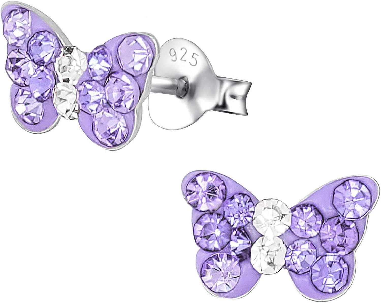 925 Sterling Silver Crystal Rose Pink Purple Butterfly Kids Girls Stud Earrings