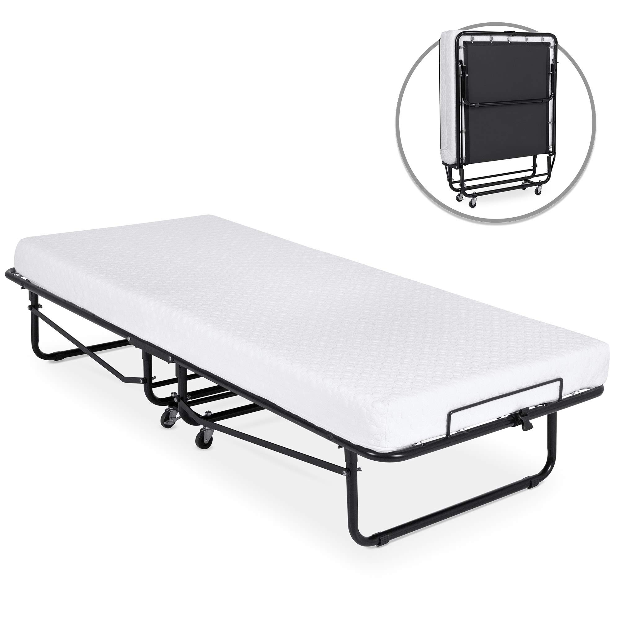 Best Choice Products Folding Rollaway Cot-Sized Mattress Guest Bed w/ 3in Memory Foam, Locking Wheels. Steel Frame, Black by Best Choice Products