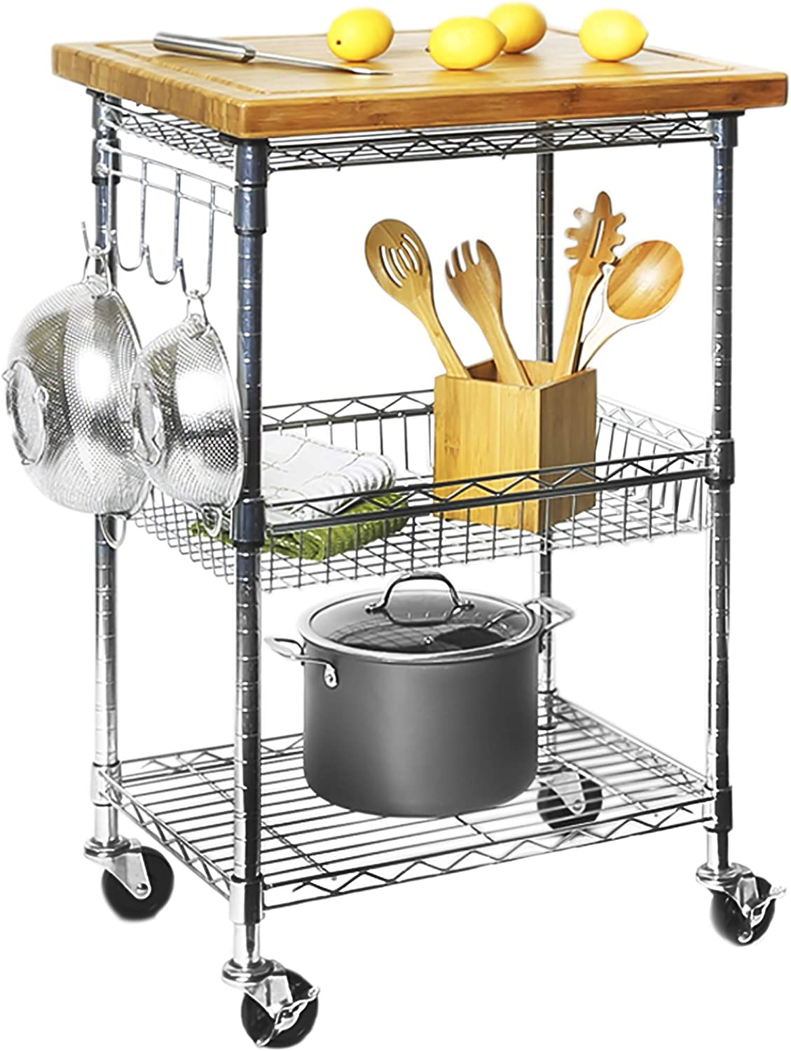 Seville Classics 3 Tier Solid Top Prep Table Kitchen Island Cart Storage 24 W X 20 D X 36 5 H Bamboo Chrome Home Kitchen