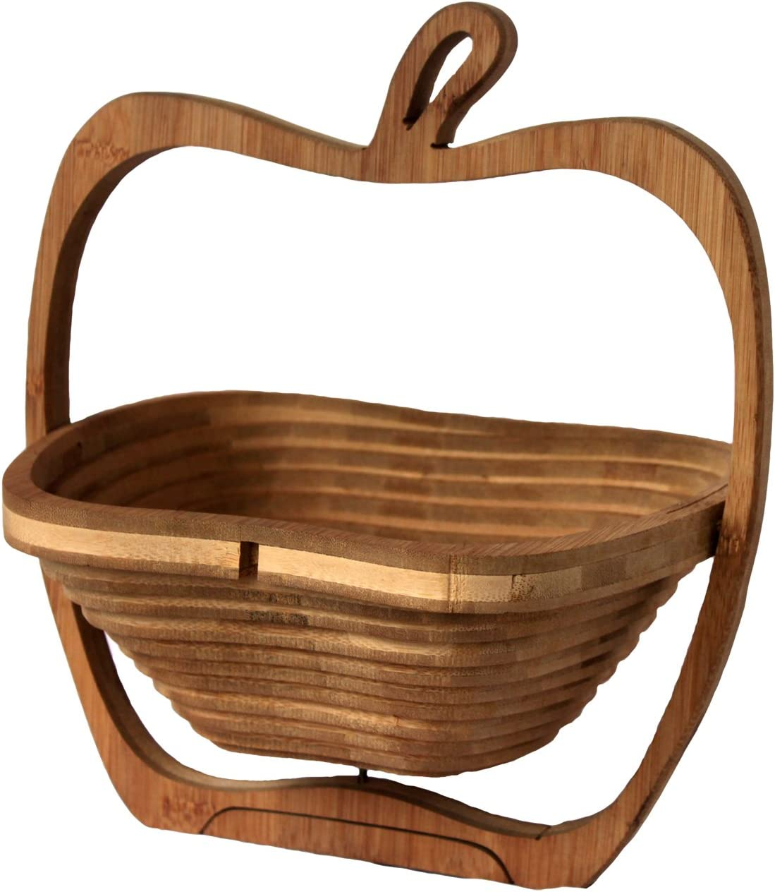 RaanPahMuang Fair Trade Bamboo Wood Collapsible Apple Fruit Serving Basket