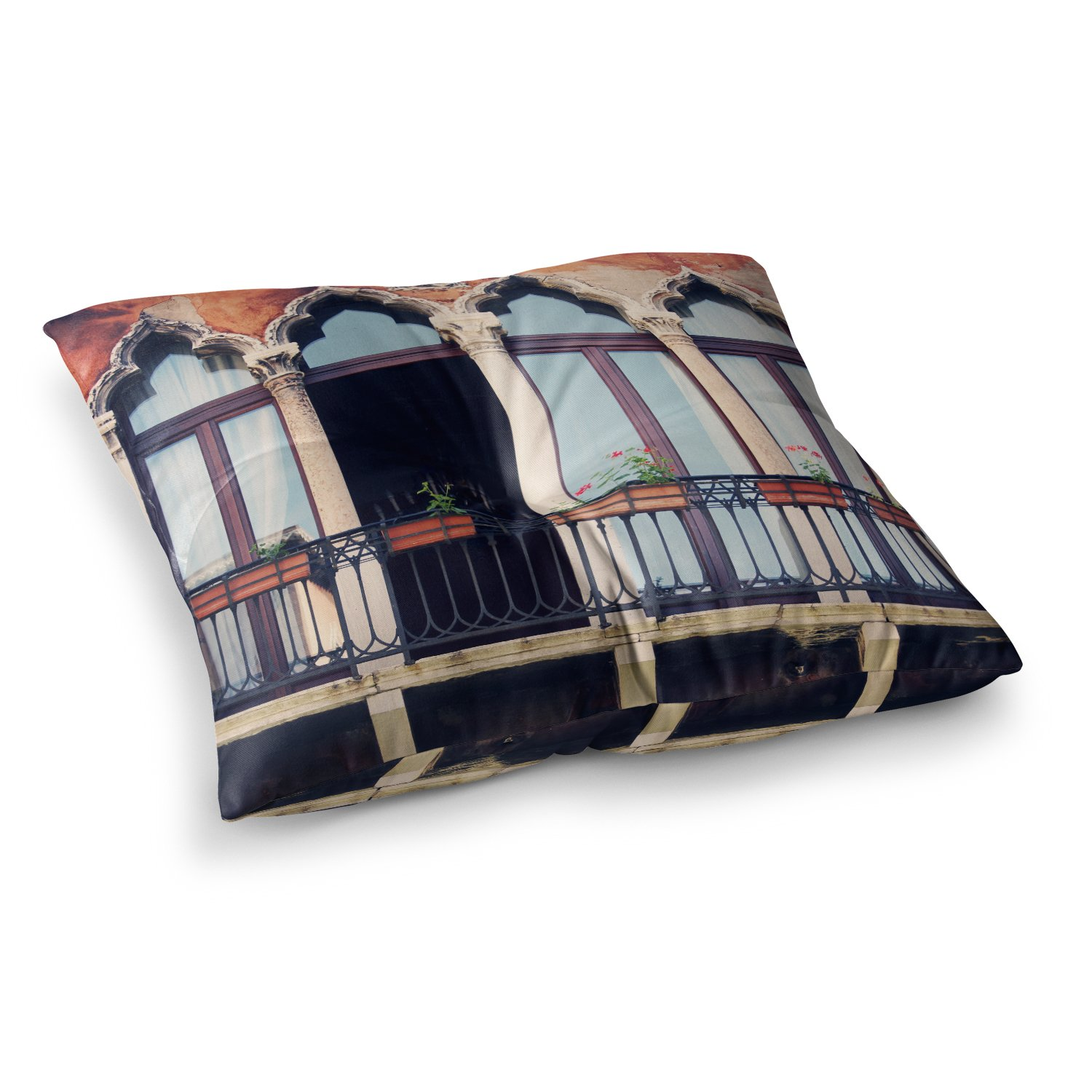 Kess InHouse Ancello Abstract Horse Purple Blue 23 x 23 Square Floor Pillow
