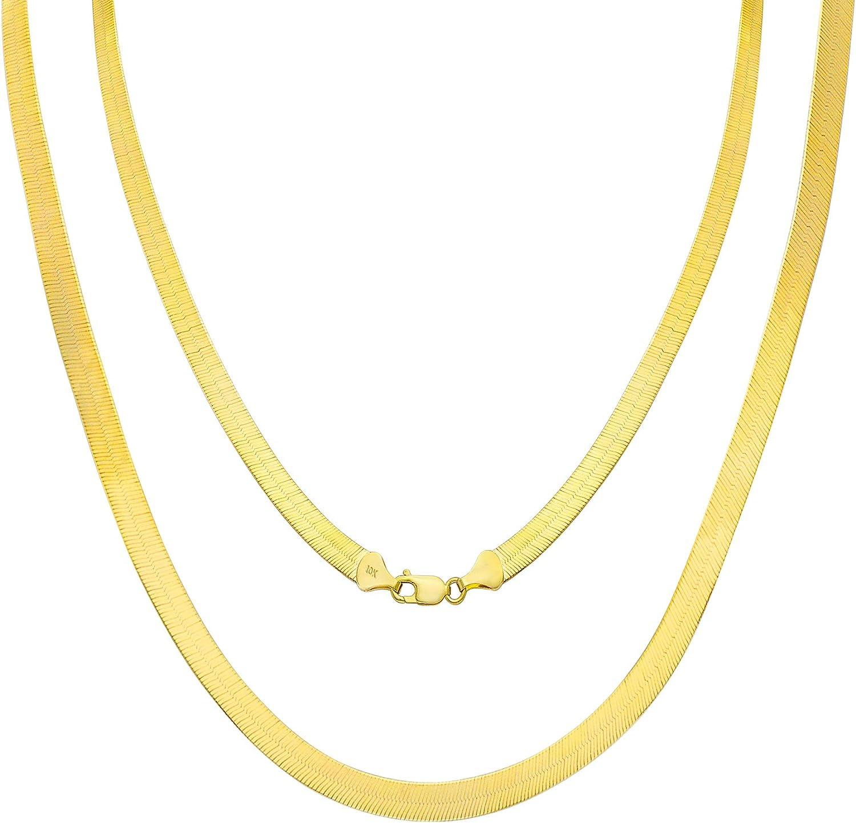 Ritastephens 14k Yellow Gold Shiny Herringbone Chain Necklace or Bracelet 3 Mm