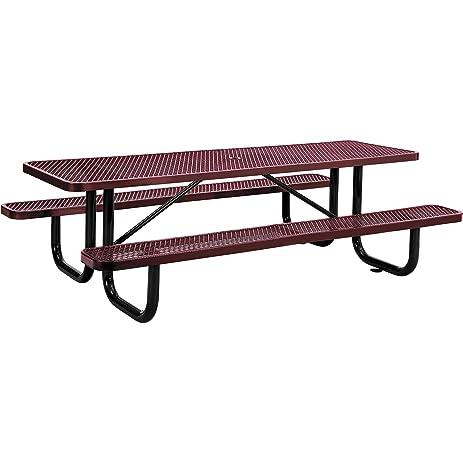 Captivating 8u0027 Rectangular Expanded Metal Picnic Table, ...