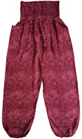 Ladies Red Baggy Pants Thai Graphic Design