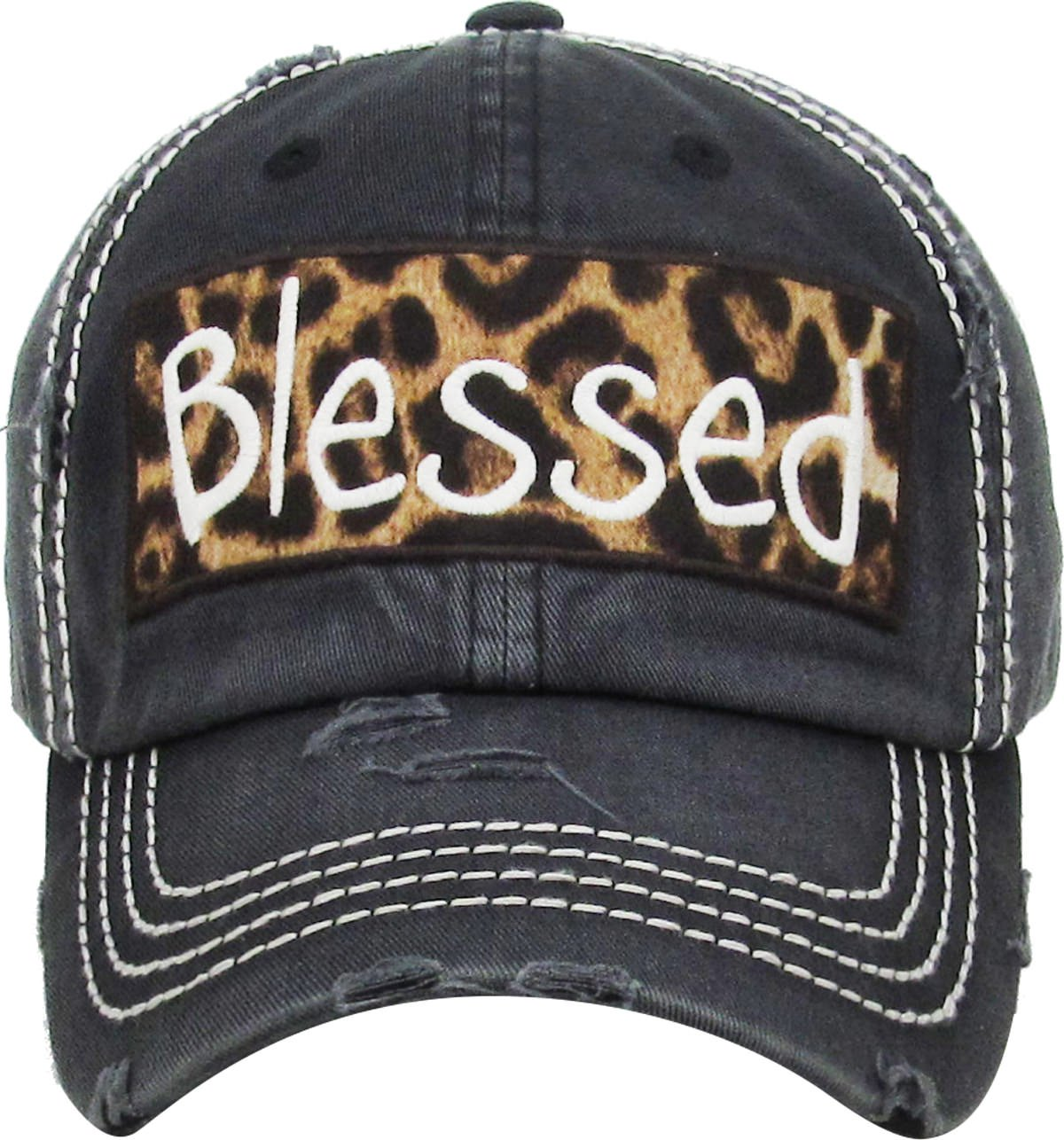 H-212-BLESSED06 Distressed Baseball Cap Vintage Dad Hat - Blessed (Leopard/Black)