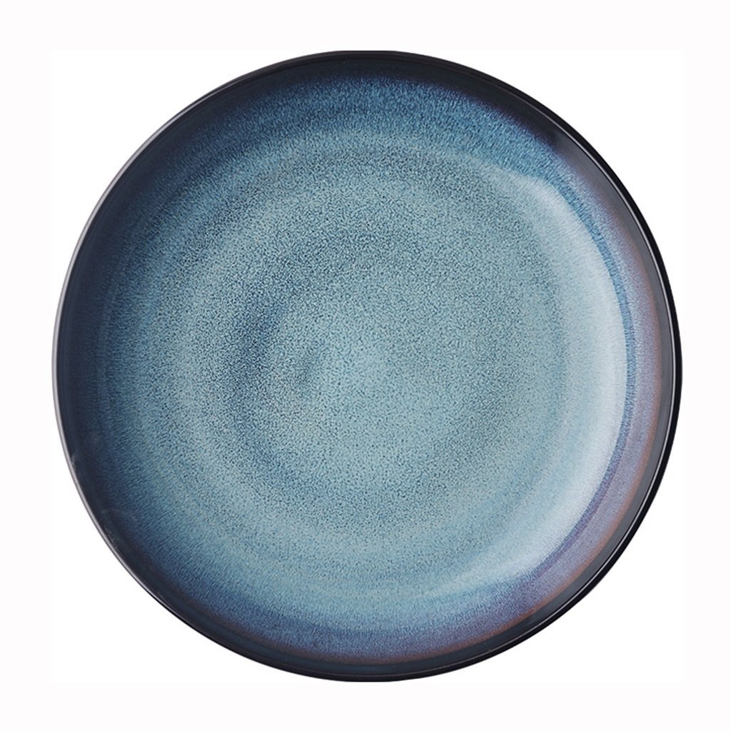 He Xiang Ya Shop Household flat plate Breakfast plate Steak plate Cutlery tray Pasta dish Fruit salad plate Round blue ceramic plate 21 cm (8 inches)