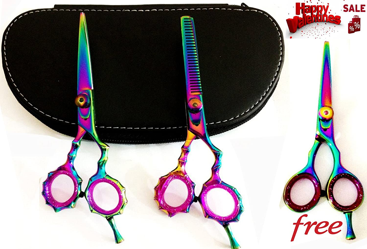New Multicolor J2 Japanese Steel Professional Razor Edge Titanium Coated Hairdressing Scissors and Hair Thinning Scissors/shear Set 5.5 Inch (14cm)+ Free Mutlicolor Barber Shear