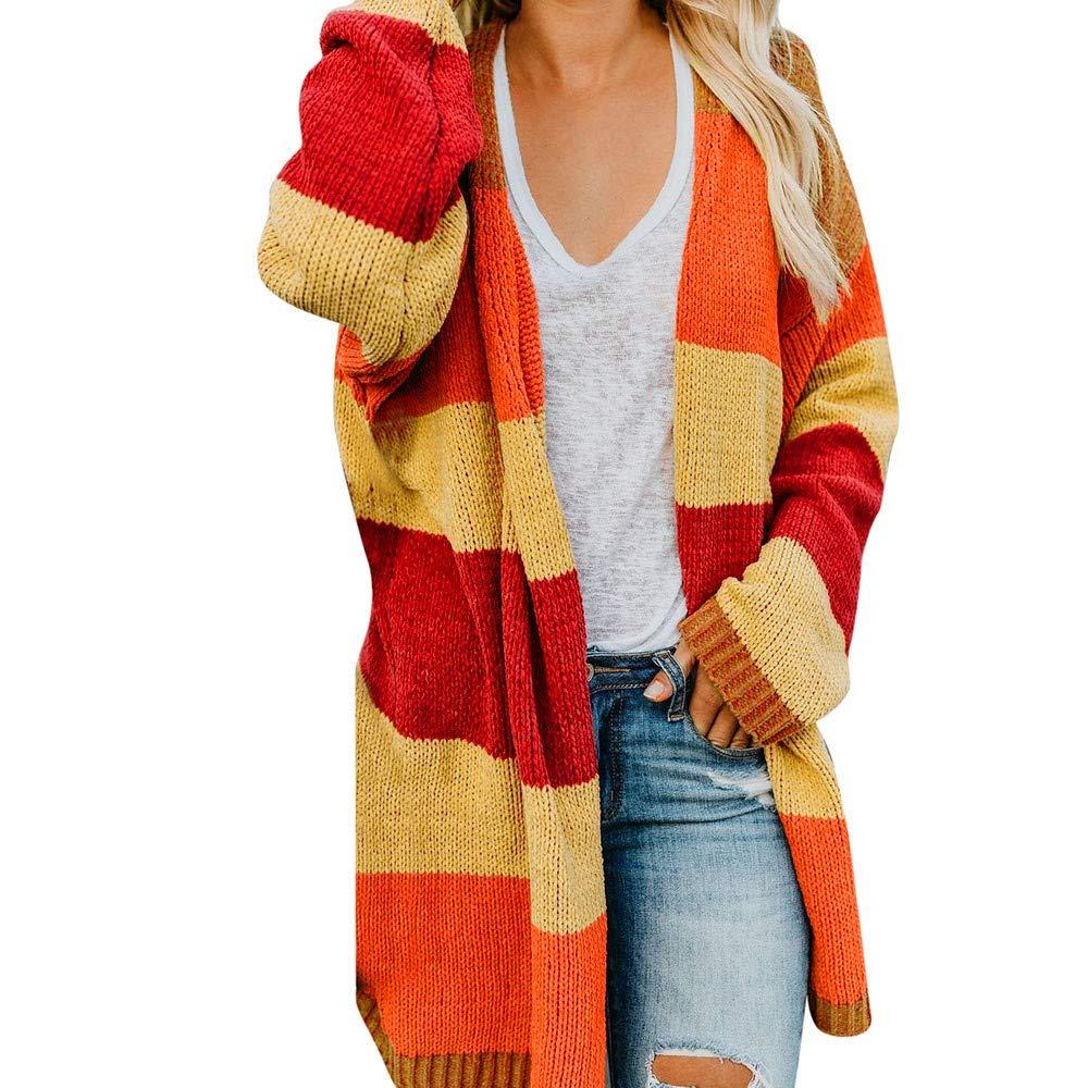 XOWRTE Women's Patchwork Fashion Plus Size Long Sleeve Autumn Winter Jacket Cardigan Kimono Sweater Coat Fashion 2018