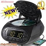 Memorex CD Top Loading Dual Alarm Clock AM/FM Stereo Radio MC7264 with 0.9-Inch Green LED Display and 3.5mm Aux Jack & Headphone Jack input (Black)