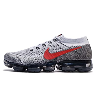 NIKE Men's Air Vapormax Flyknit, Pure Platinum/University Red, ...