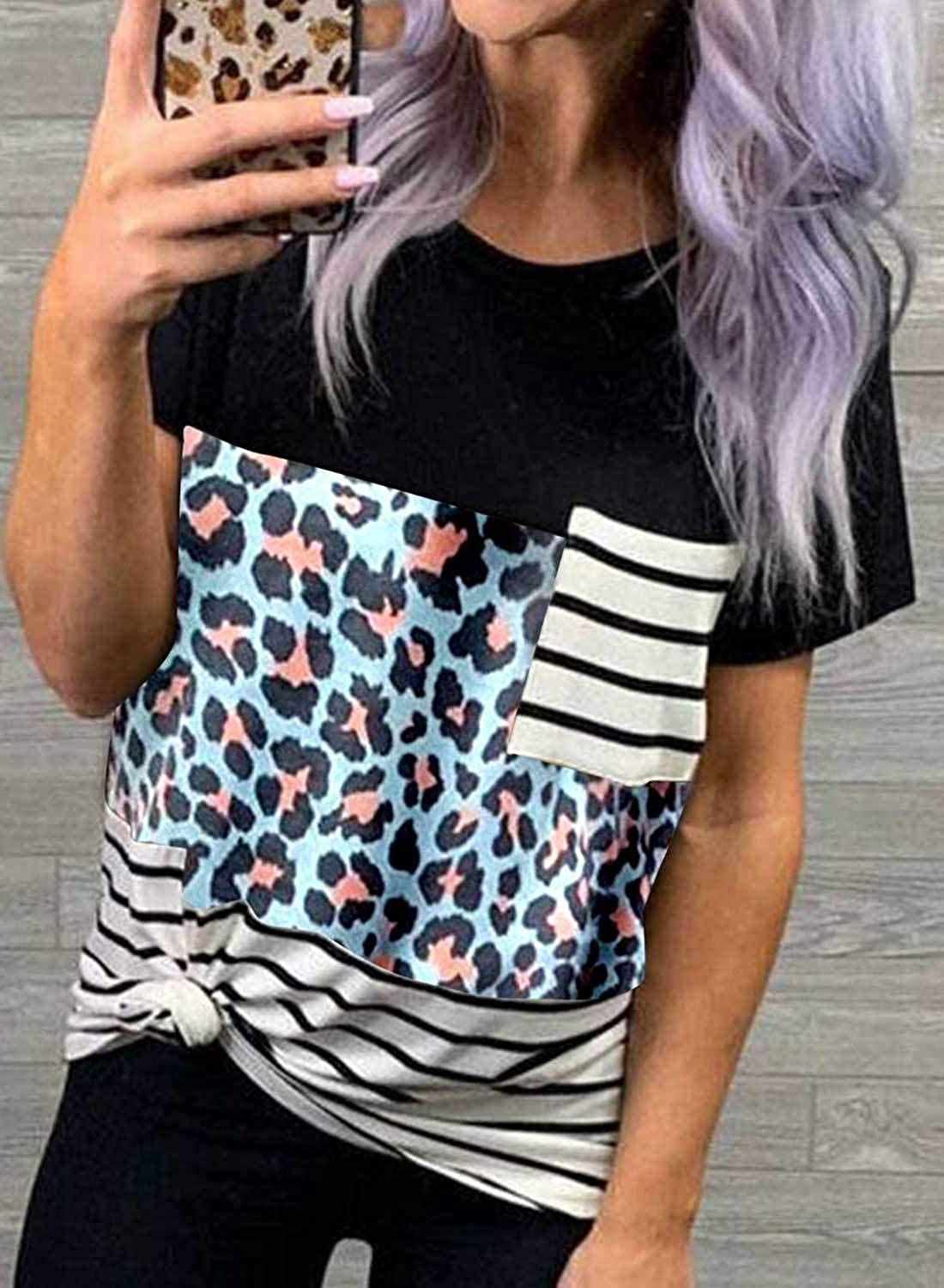 Chase Secret Women/'s Crew Neck Leopard Color Block Short Top Casual Loose Blouse Shirts with Pocket