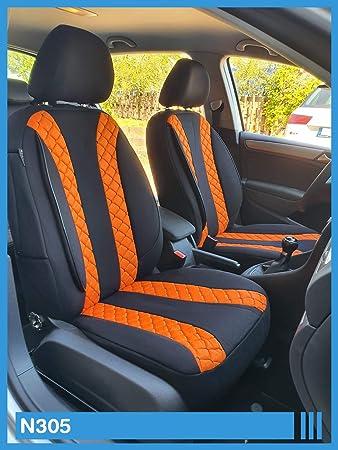 Maß Sitzbezüge Kompatibel Mit Vw T5 T6 Caravelle Transporter Fahrer Beifahrer Ab 2003 Fb N305 Schwarz Orange Baby