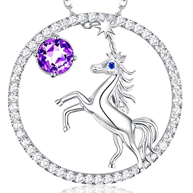 Birthday Gift for Girls Unicorn Jewelry February Birthstone Natural Amethyst Gemstone Necklace Sterling Silver