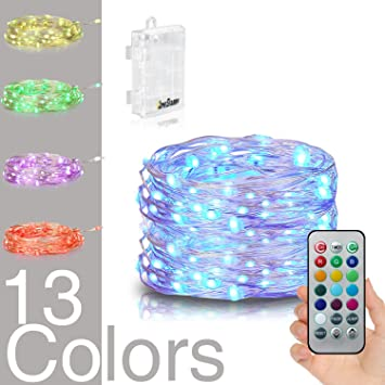 Homestarry LED String Lights,Battery Powered Multi Color Changing String  Lights With Remote,50leds
