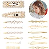 Decorative Bobby Pins Pearls Hair Clips for Women Girls, Funtopia 15 Pcs Minimalist Dainty Gold Geometric Hairpins Fashion Snap Barrettes for Party and Daily Wearing