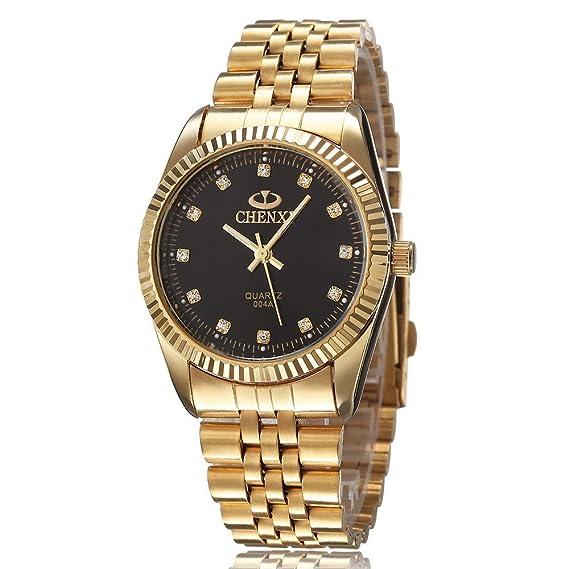 xlordx Chenxi Moda Hombre Oro Reloj de Muñeca Analógico de Cuarzo Acero Inoxidable Color Negro: Amazon.es: Relojes