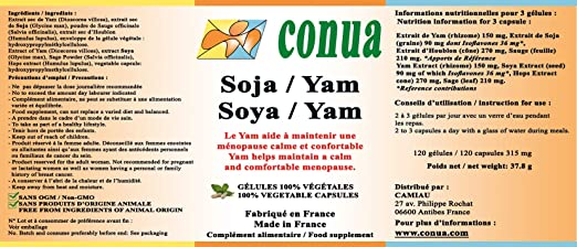 Planta de las hormonas (Fitohormonas) progesterona y estrógeno isoflavona Soja Yam Hop cono de 120 Cápsulas vegetales Completamente libre de aditivos Sage ...