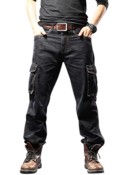Yeokou Mens Casual Loose Hip Hop Denim Work Pants Jeans with Cargo Pockets