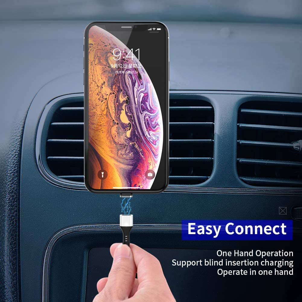 ZRSE Nylon Braided 3 in 1 Data Transfer Fast Charger Cable with LED Indicator Compatible with Android /& Type-C /& i-Product Device 3.3 Feet USB C Magnetic Charging Cable Silver 1Pack