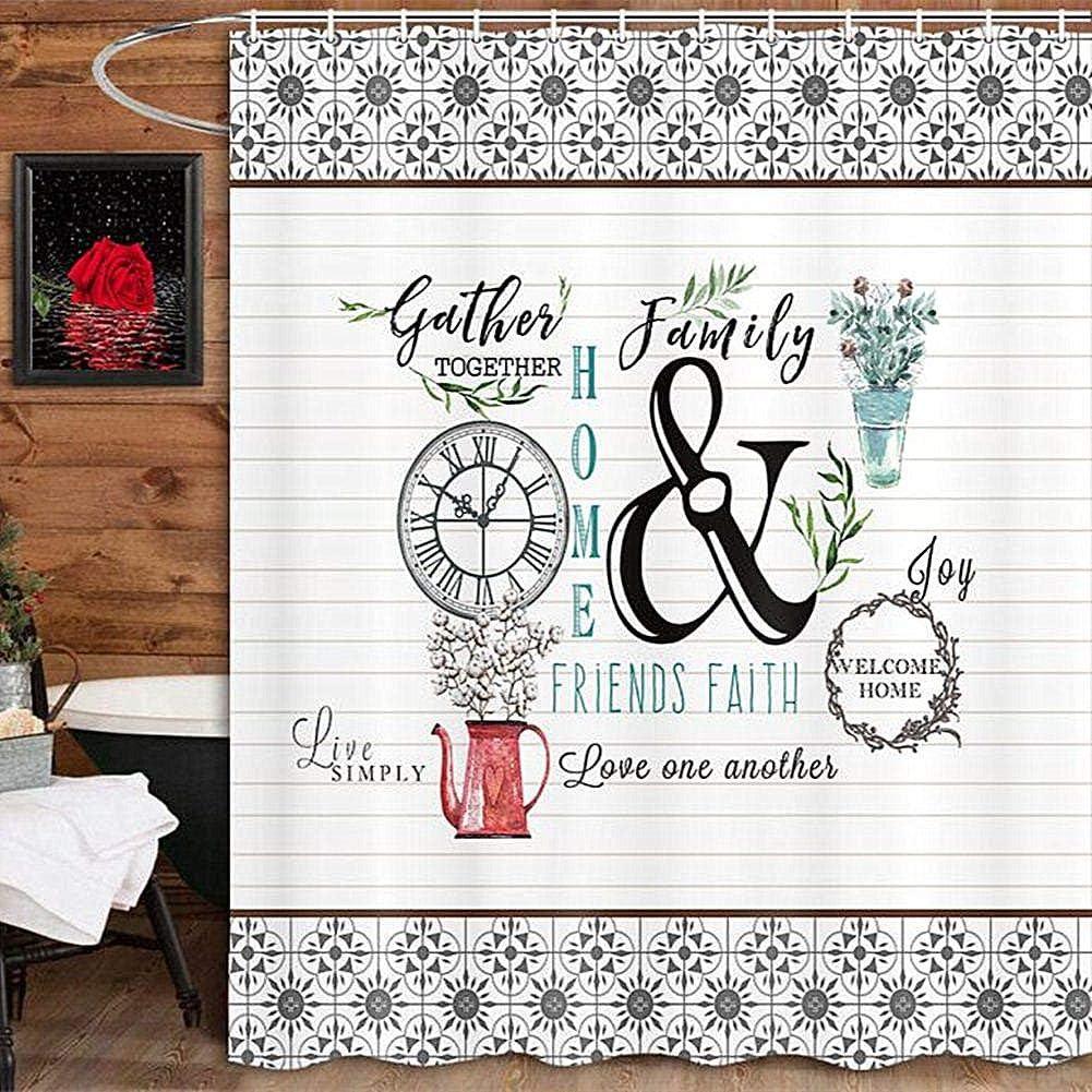 JAWO Modern Farmhouse Shower Curtain Flower Red Heart Love Family Home Bathroom Curtains 69x70 Inches