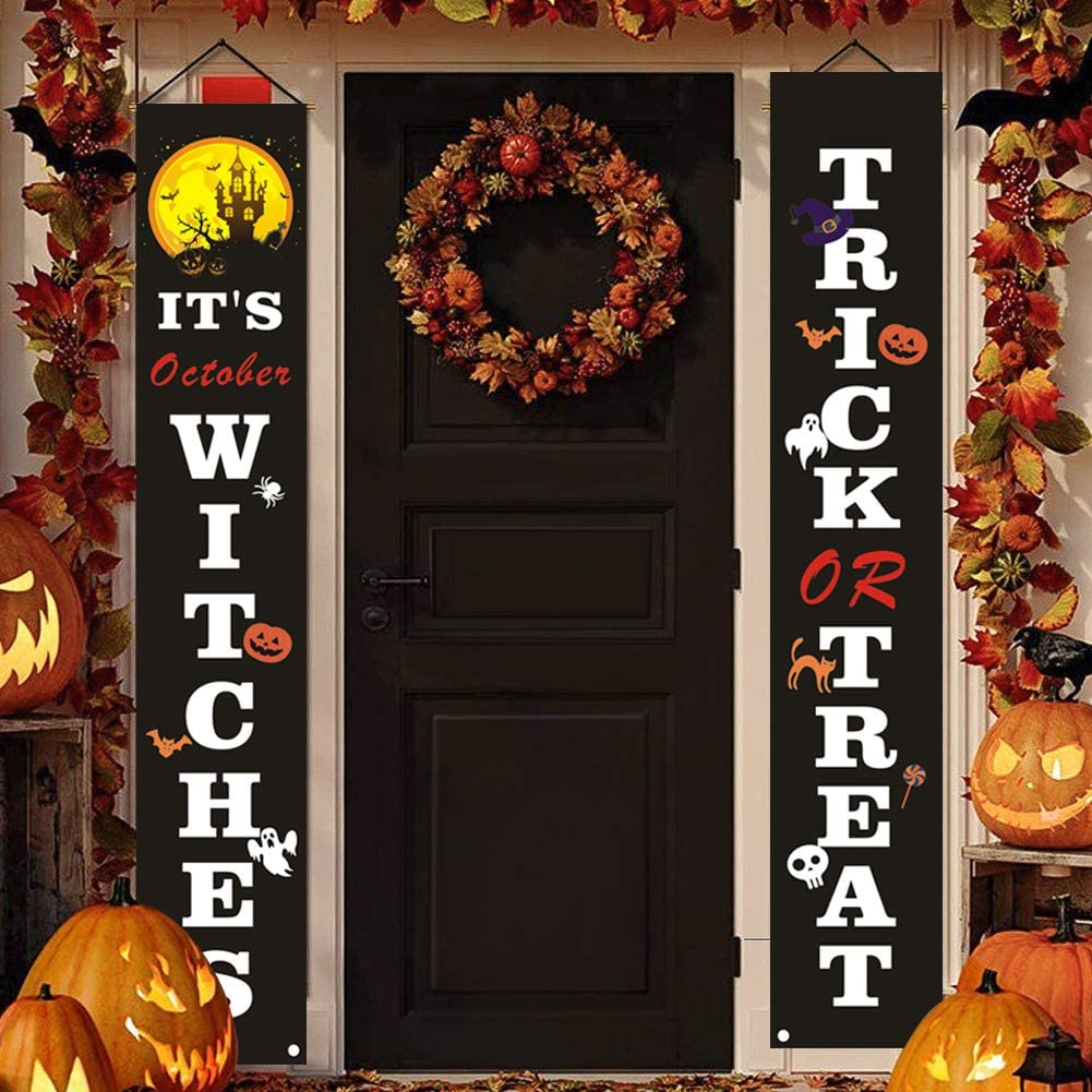Halloween Decorations Outdoor, fall decor for home Trick or Treat & It's October Witches Banner, Halloween Porch Signs for Front Door or Indoor, Porch Decorations Banner, Halloween Welcome Signs