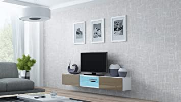 High Gloss TV Stand Entertainment Cabinet With LED Lights   180cm Floating  Wall Unit   VIGO