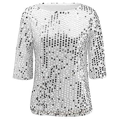 664bd865f4e Ruiying Femme T-Shirt Paillette 3 4 Manches Courtes Été Blouse Top Cocktail  Soirée