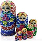 IUMÉ Russian Nesting Dolls,Matryoshka Wood Stacking Nested Semenov Wooden Handmade Toys The Best Gift for Children Kids Christmas Mother's Day Birthday Home Room Decorat Halloween Wishing Gift 7 PCS