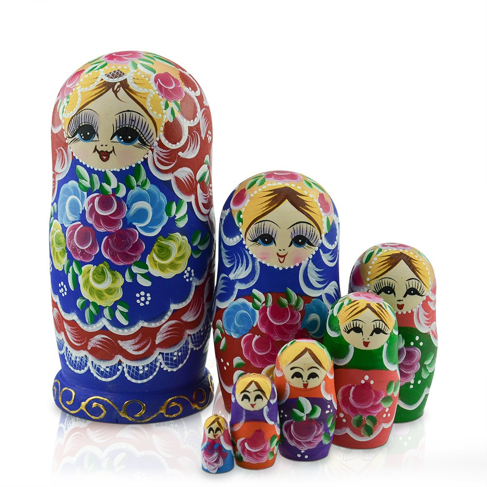 IUME Russian Nesting Dolls Matryoshka Wood Stacking Nested Semenov Wooden Handmade Toys The Best Gift for Children Kids Christmas Mother's Day Birthday Home Room Decorat Halloween Wishing Gift 7 PCS
