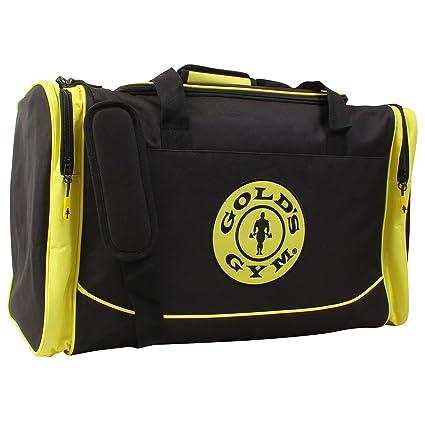 44234b34a0f5 Gold s Gym 2017 Large Sports Duffel Bag Mens Gym Bag  Travel Holdall Black  Gold
