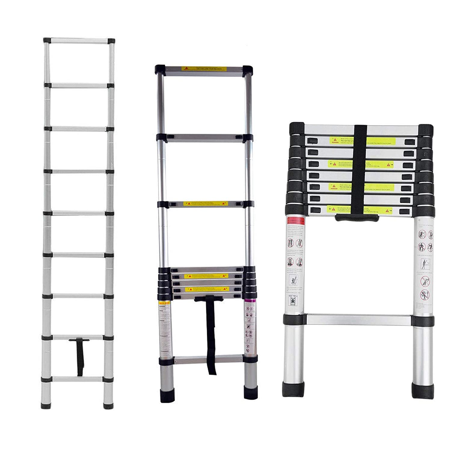 3.8m (12.5FT) Multi-Purpose Portable Ladders for Outdoor Indoor Aluminium Telescopic Extension Extendable Builders Steps Ladder ZanGe Factory