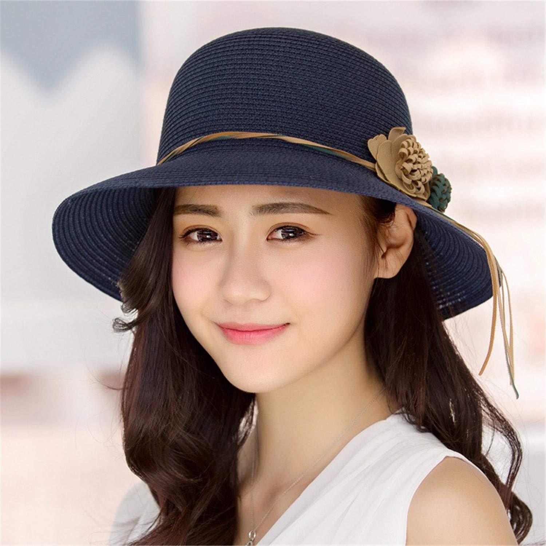 Female Summer Beach Hat Sun Hats Travel Cap Ladies Wild Big Hat Flower Lace Sunscreen Elegant 02 58-60cm