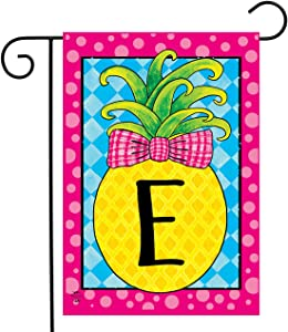 "Briarwood Lane Pineapple Monogram Letter E Garden Flag Everyday 12.5"" x 18"""
