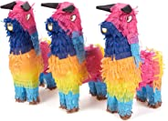 Pack of 3 Miniature Bull Pinatas - Mini-Sized Rainbow Mexican Pinatas for Birthday Party, Cinco De Mayo, Fiestas, Celebration