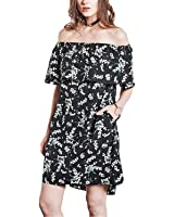 Bangpang New Summer Womens Dresss Fashion Print Sexy Dress Slash Neck Short Sleeve Pensonality Lady Dress